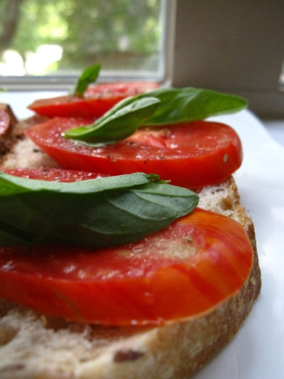 Tomato with Basil on Toast