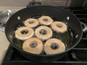 Apple Spice Donuts Frying
